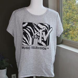 H&M Zebra Print MTV Logo T-shirt